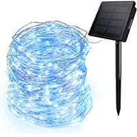 Ankway Solar String Lights Blue, 200 LED Fairy Lights 3-Strand Copper Wire Light 8 Modes 72 ft Outdoor String Lights…