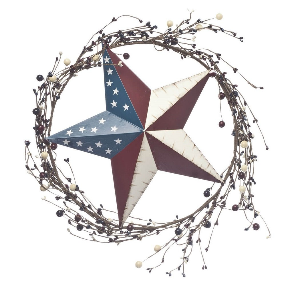 Patriotic American Flag Barn Star Wreath with Rattan Decorations - 14'' dia - Indoor, Outdoor, Metal, w/Plastic Colored Berries