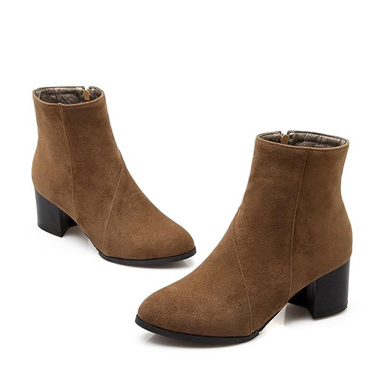 Davikey Women's Kitten-Heels Boots Solid Pointed Closed Toe Frosted Zipper Boots B06XT39V85 Boots Kitten-Heels d4966f