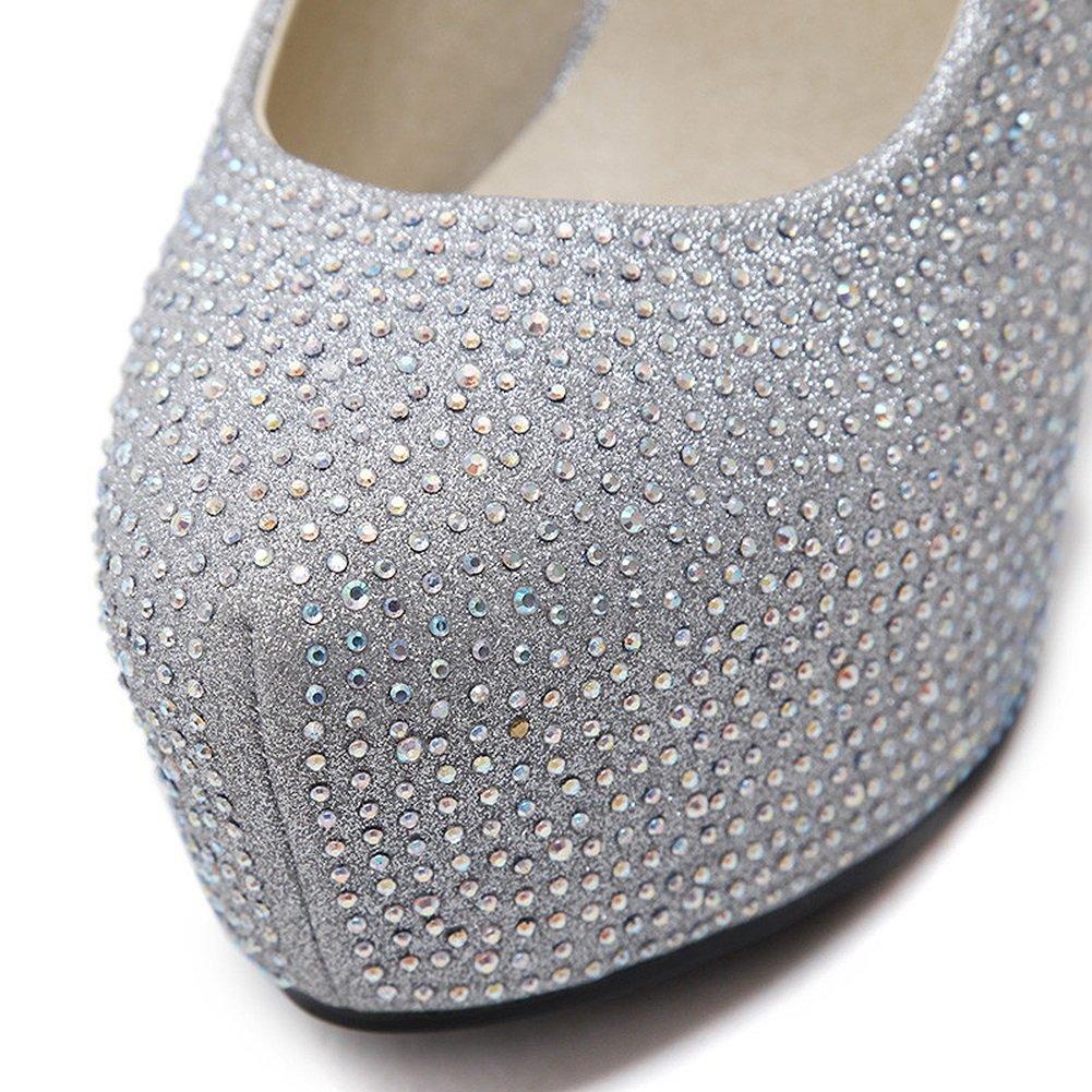 Pumps XUERUI Flacher Mund beschuht Wasserdichte Wasserdichte Wasserdichte Plattformhochhackige Schuhe mit feinen silbernen Hochzeitsschuhen Hochzeitsschuhen (größe   EU37 UK4.5-5 CN37) 0aec53