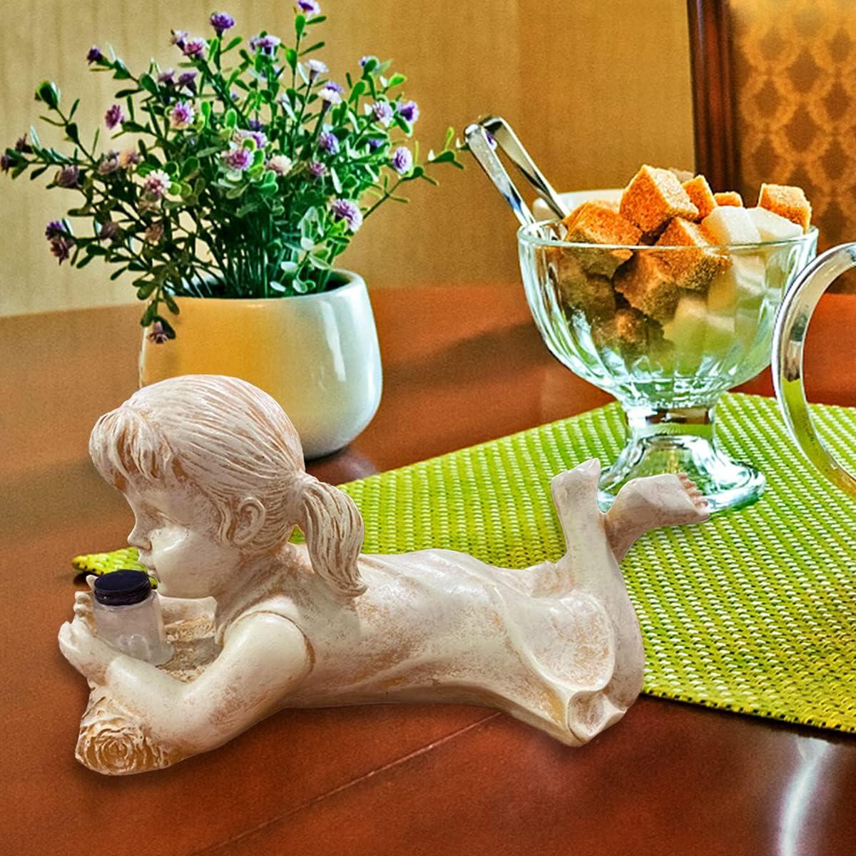 Outdoor Solar Lighted,Firefly Jar Garden Boy Girl Statue,Decor Garden Sculptures & Statues Outdoor (D)