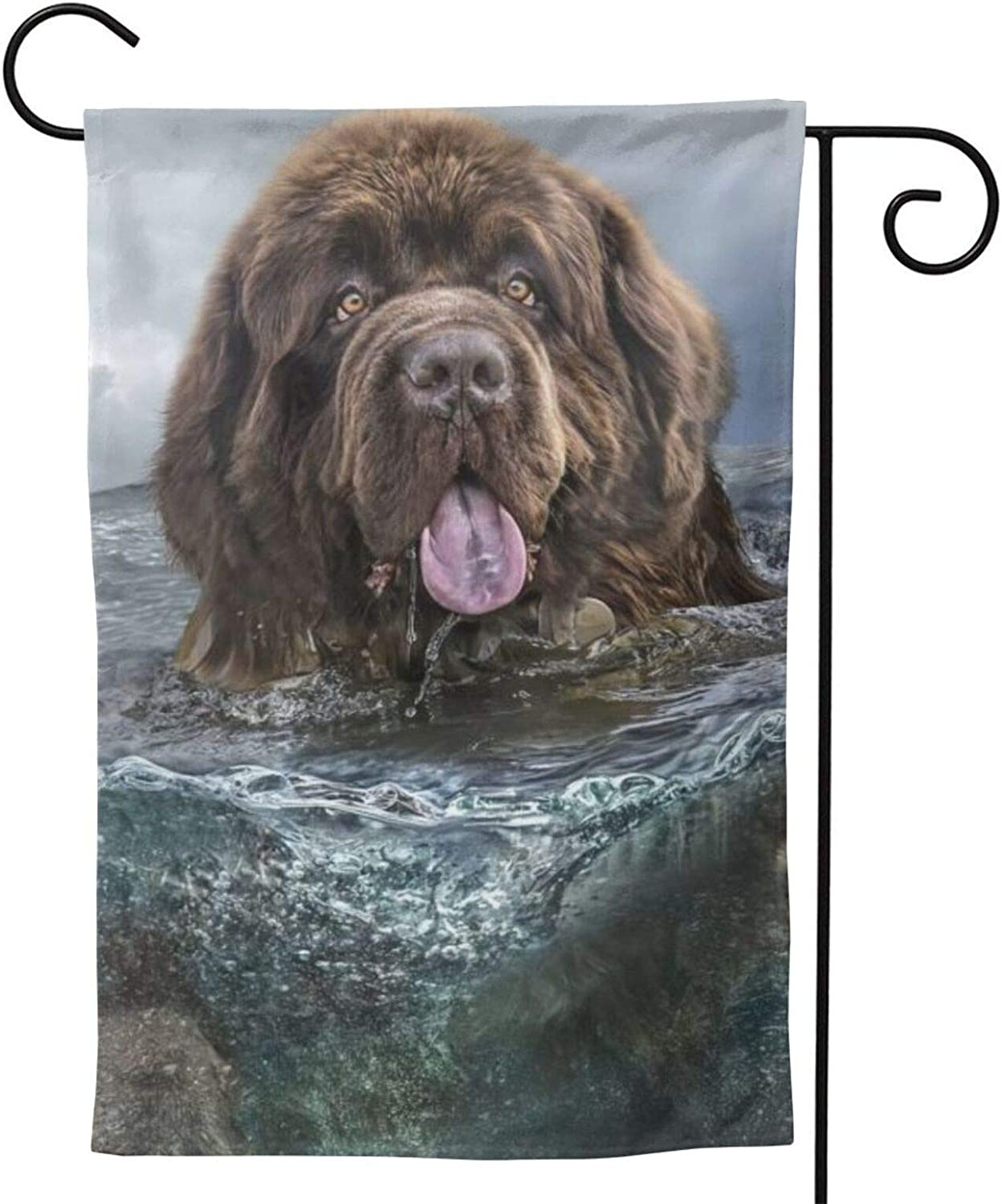 MINIOZE Newfoundland Underwater Dogs Funny Party Themed Flag Welcome Outdoor Outside Decorations Ornament Picks Garden Yard Decor Double Sided 12.5X 18 Flag
