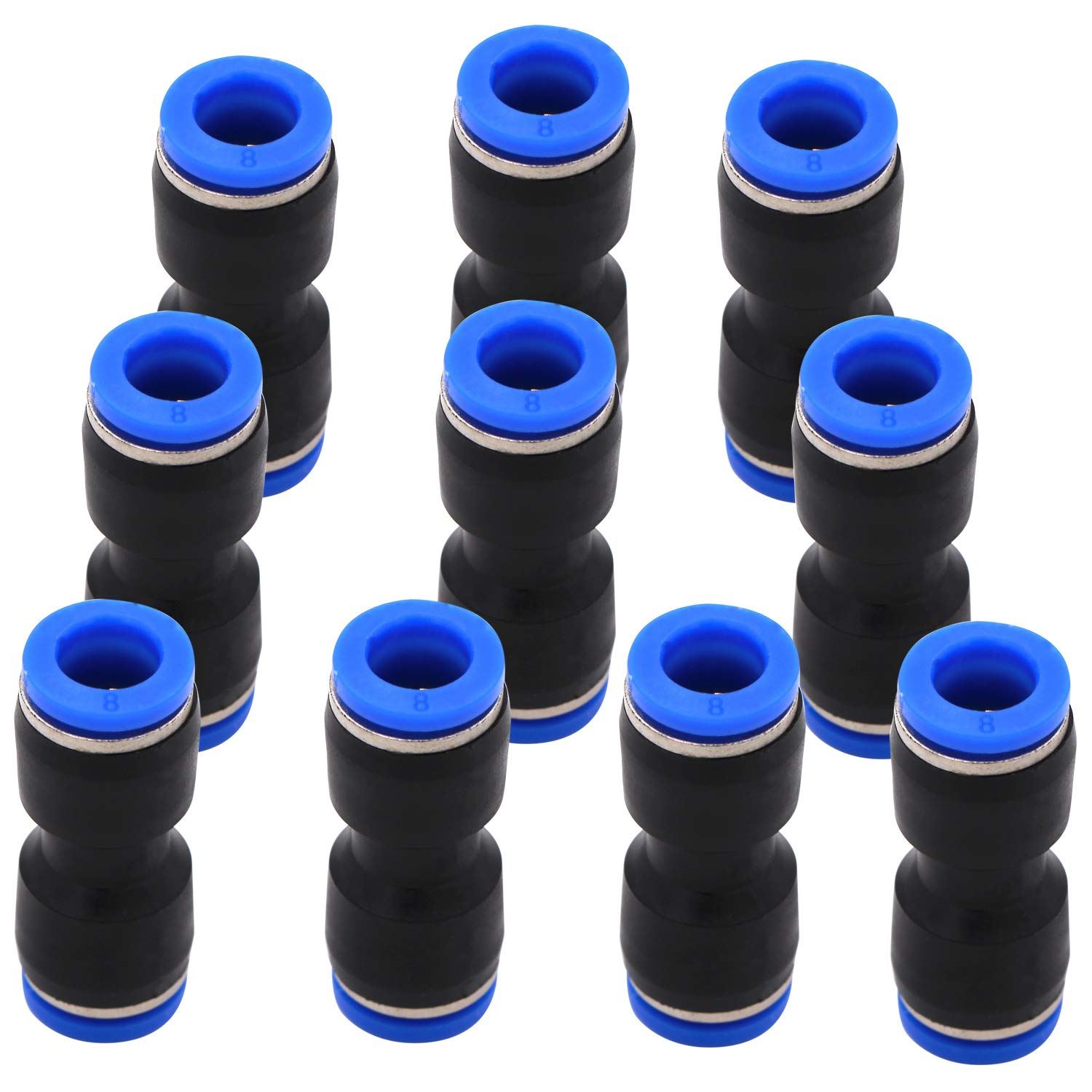 Quick Connect Fittings 8mm or or 5/16 OD - DERNORD 10 Pack Plastic Push to Connect Fittings Tube Straight Connect 8Mm to 8Mm Push Fit Fittings Tube Fittings Push Lock
