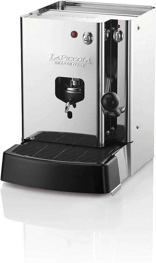 LUCAFFÈ La Piccola Sara Classic, cafetera para vainas ESE cafetera de cápsulas de café, acero inoxidable 30.5x21x29, Made in Italy + 300 cápsulas