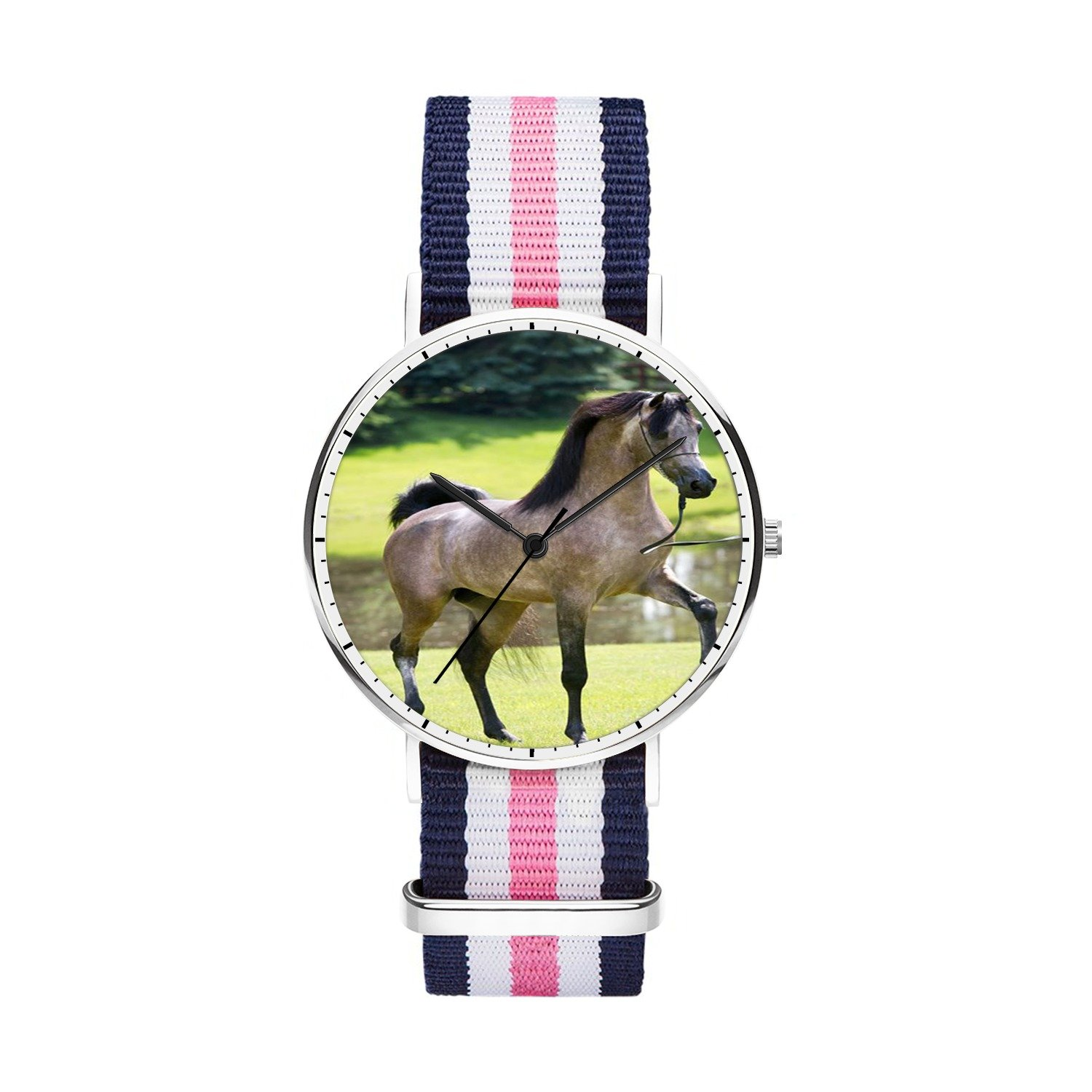 FELOOWSE Girls Watches, Women Watches, Sliver Slim Minimalist Imported Japanese Quartz PracticalWaterproof Unique Personalized Youth Fashion Design Cute Watches for Women.- Horse