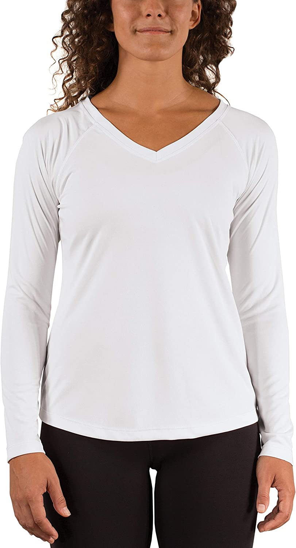 Vapor Apparel Women's V-Neck UPF 50+ Sun Protection Outdoor Performance Long Sleeve T-Shirt