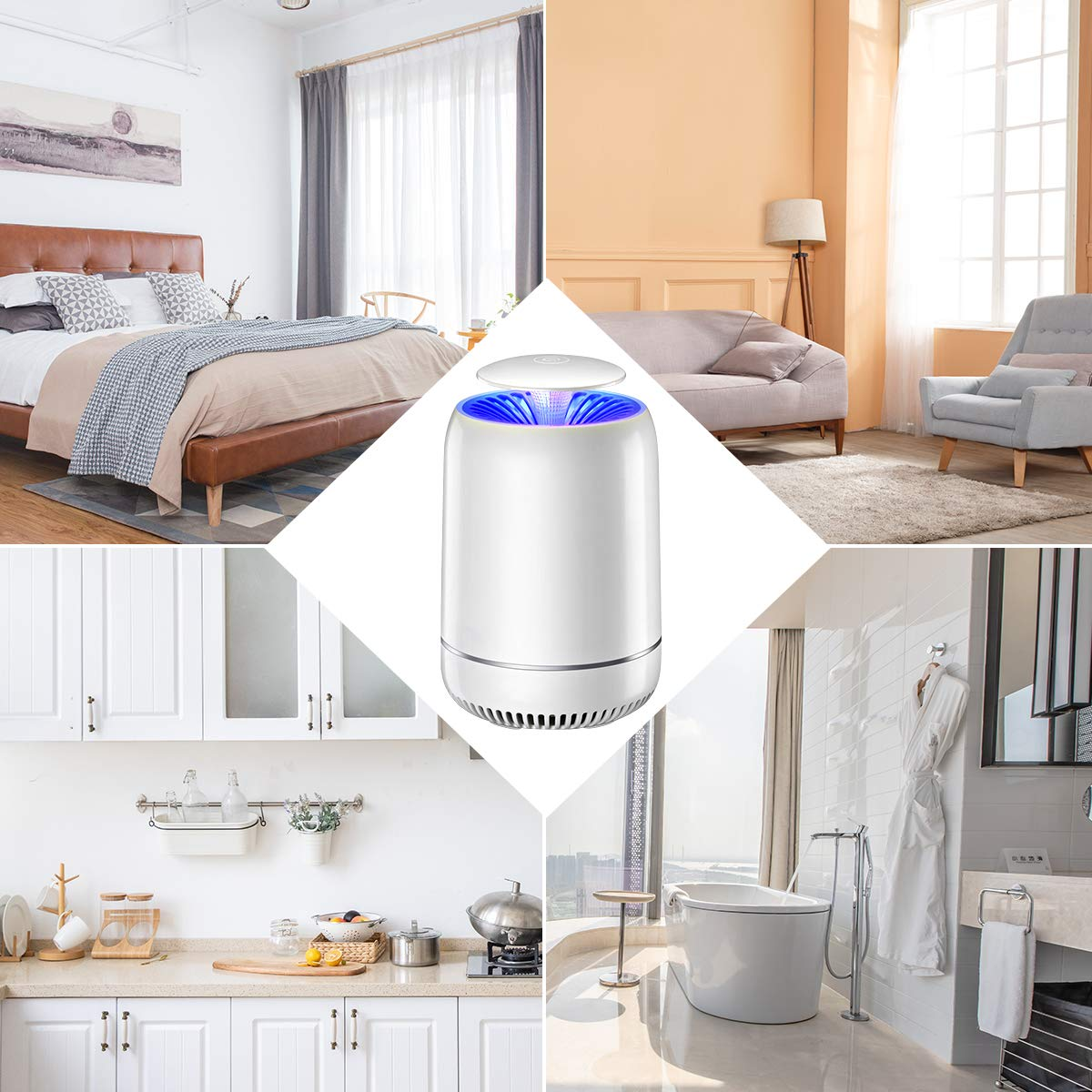 Electric Mosquito Insect Killer//Mosquito Trap//Fly Zapper and Bug Zapper//UV Insect Killer Lamp with Strong Built in Suction Fan,USB Power Supply,Chemical-free and Quiet for Home FOCHEA Insect Killer