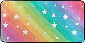 Oreayn Cute Rainbow Line Stars Kitchen Mat Bath Door Sink Floor Mat Soft Absorbent Non Slip Rug for Bathroom Bedroom Living Room Home Decor 39 x 20 inches Colorful