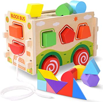 13 SHAPE SORTER 6 Colors Rolling Wooden Toy//Gift Blocks Baby Toddle
