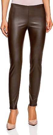 oodji Ultra Femme Pantalon Stretch avec Ceinture en Similicuir