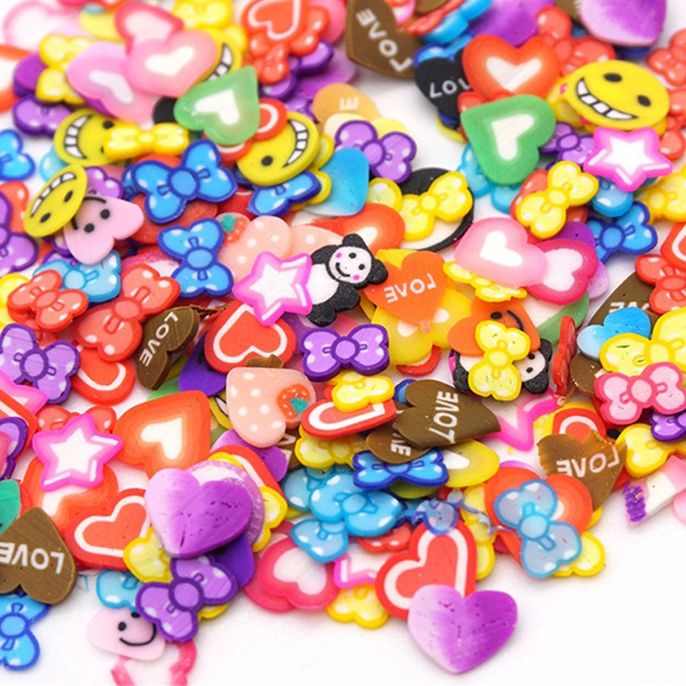 callm Slime Clay Toy,50PCS Colorful DIY 3D FIMO Slice Face Decoration for Homemade Slime Making Craft