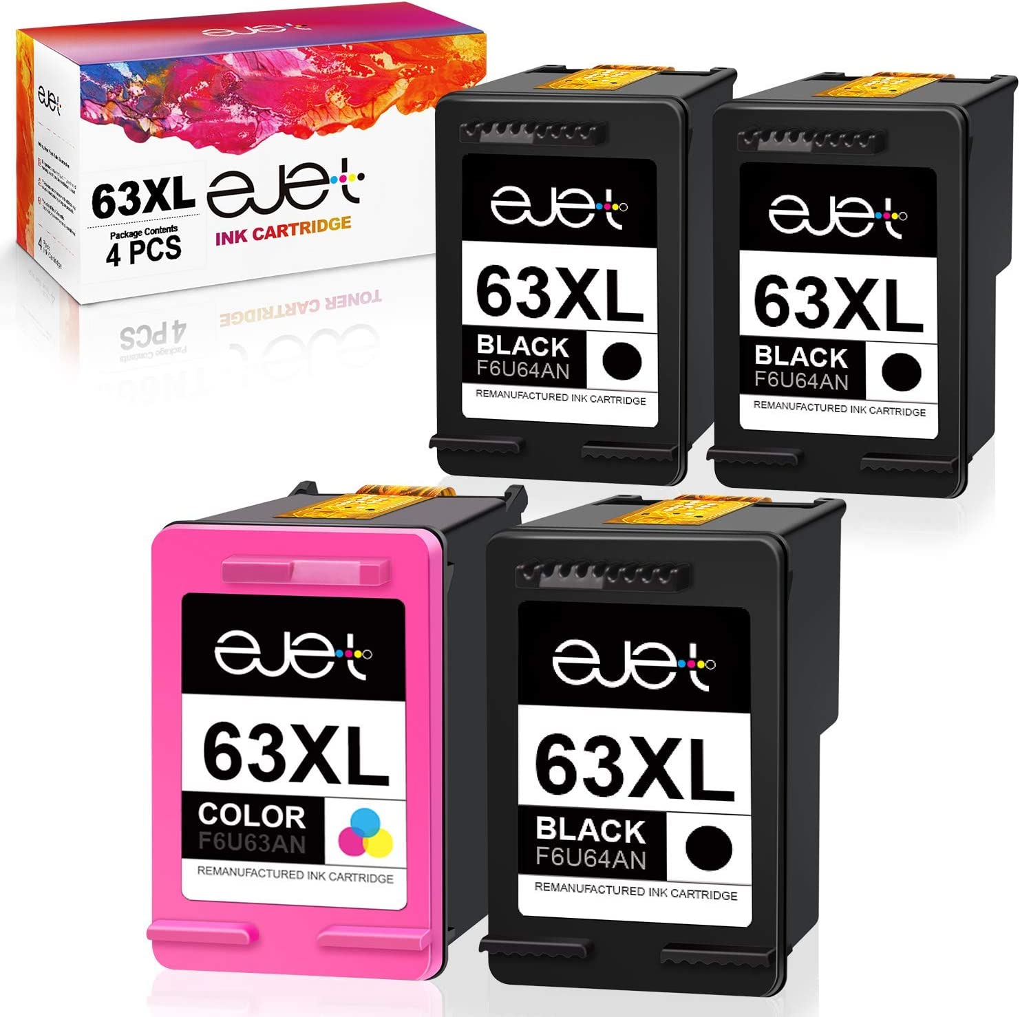 ejet Remanufactured Ink Cartridges Replacement for HP 63XL 2 Pack (1 Black, 1 Color) Bundled with 2 Black
