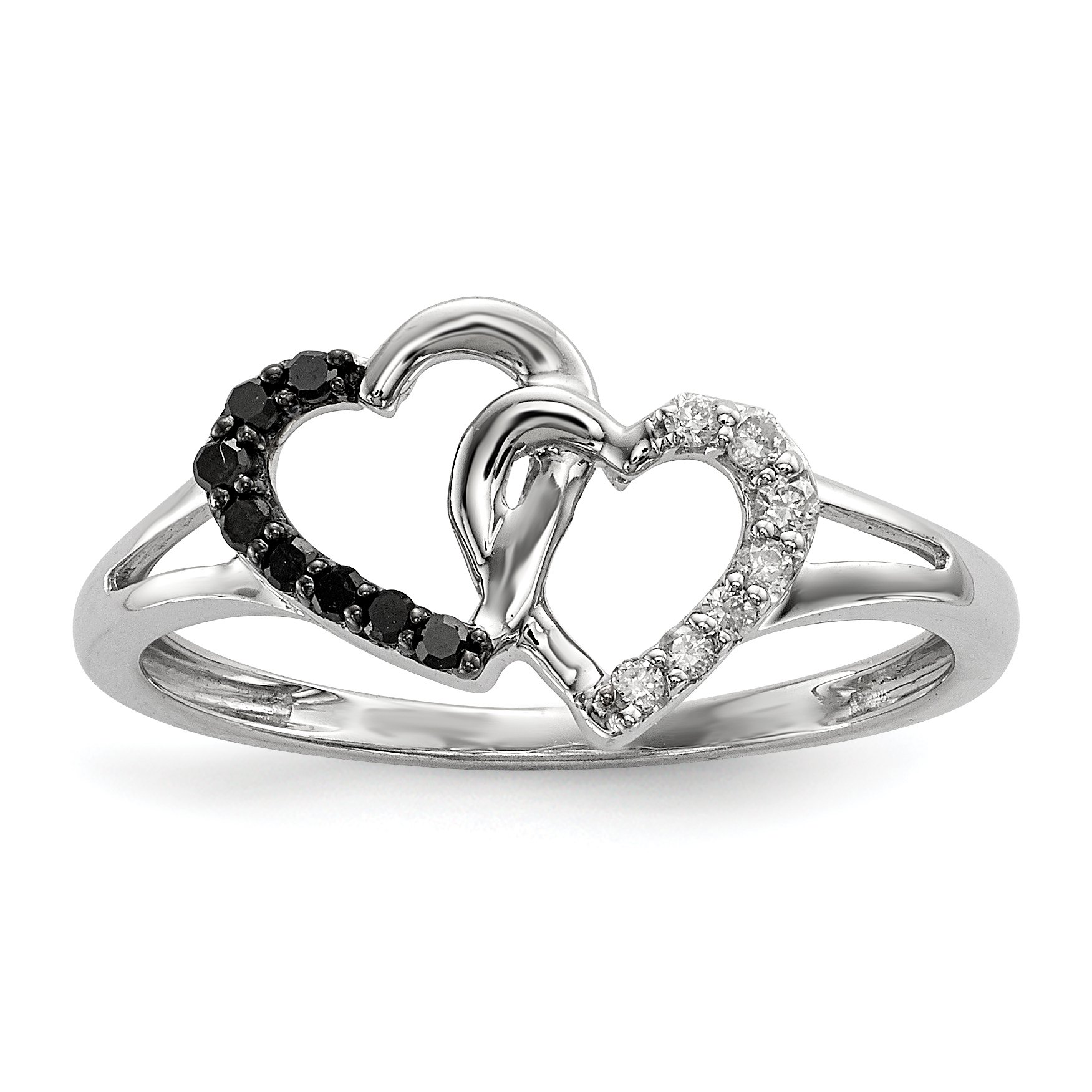 ICE CARATS 925 Sterling Silver Black White Diamond Double Heart Band Ring Size 8.00 S/love Fine Jewelry Gift Set For Women Heart