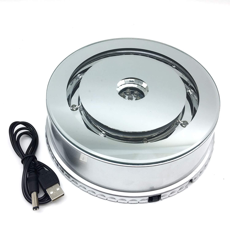 Amazingbug 商品ディスプレイベース ミラートップ カラー変更ライト レーザークリスタルエッチングクリスタルキューブ ライトアップ LEDベース アダプター付き (7LED 6.5インチ) B07MV7L66Q