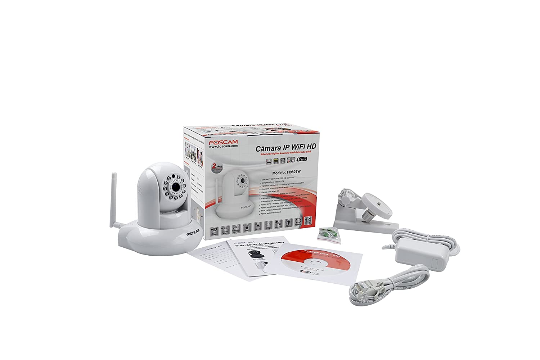 Foscam FI9821W/W - Cámara IP de vigilancia de interior motorizada (1 MP, 720p, WIFI, H264, audio, ranura tarjeta SD, 6 W), blanco