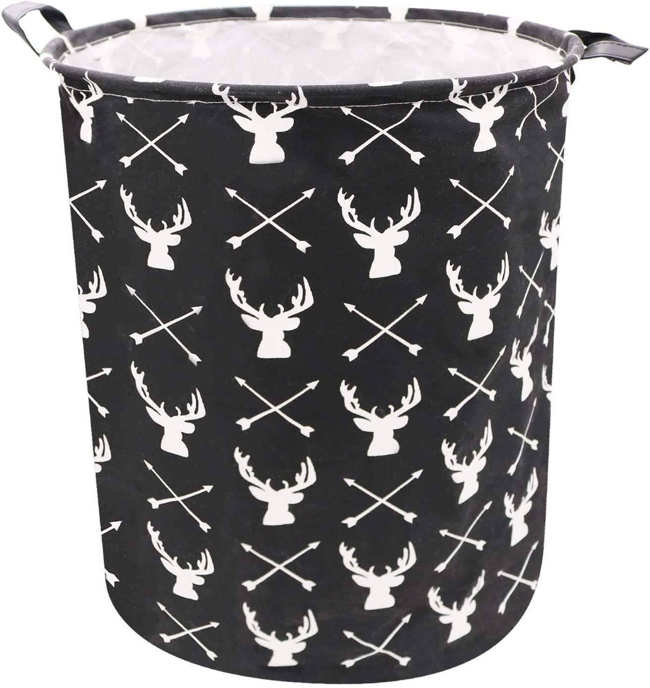 ZUEXT 19.7 Inch Large Storage Hampers,Black Canvas Fabric Waterproof Clothes Basket for Men,Collapsible Baskets Storage Bin for Kids Room Home Decor,Toy Organizer,Baby Hamper for Boys(White Deer)