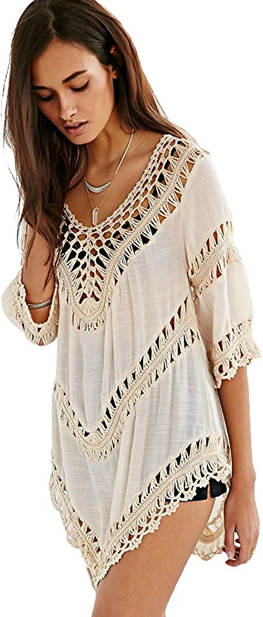 Brown Drop Neck Relaxed Fit Free Size Boho Top