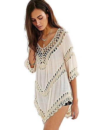 2841db0448f715 Vanbuy Women's Boho V Neck Crochet Tunic Peasant Tops Blouse Long Shirt  Beach Coverup Beige Z01