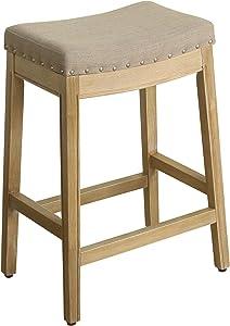 HomePop Blake Backless Nailhead Trim Counter Height Barstool, 24-inch, Linen