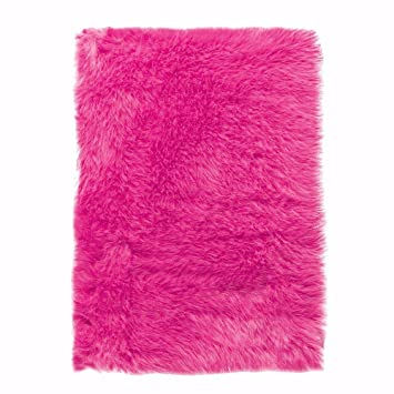 Charming Faux Sheepskin Area Rug, 4u0027X6u0027, Hot Pink
