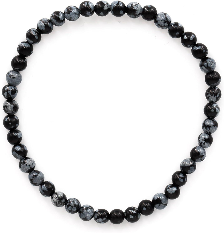 Tadd Negras Art Minerals–Pulsera de Piedras Preciosas Naturales de Copos de Nieve Obsidian con 4mm Bolas Sobre elástico Nylon Hilos aufgezogen–Hecha a Mano