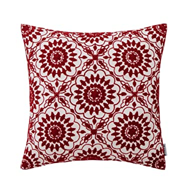 HWY 50 Cotton Embroidered Christmas Decorative Throw Pillow Covers Cushion Cases for Couch Sofa Bed Living Room Wine Red Little Sunflower Floral Burgundy 18 x 18 inch 45 x 45 cm, 1 Piece