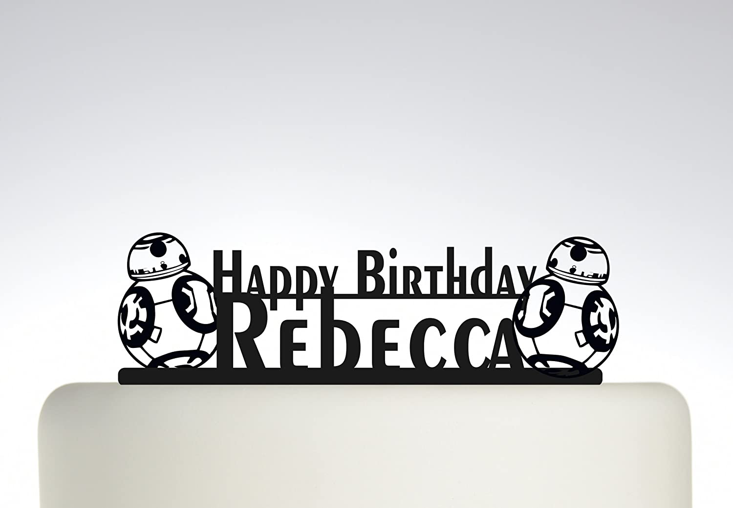 Birthday Cake topper Personalised Happy Birthday YOUR NAME Star Wars BB8. Ideal birthday cake decoration, birthday party Acrylic cake topper, Available in Gold Mirror, Gold Sparkle, Silver Mirror, Silver Sparkle, Bronze Mirror, Black,Blue, Pink, Red,Purple