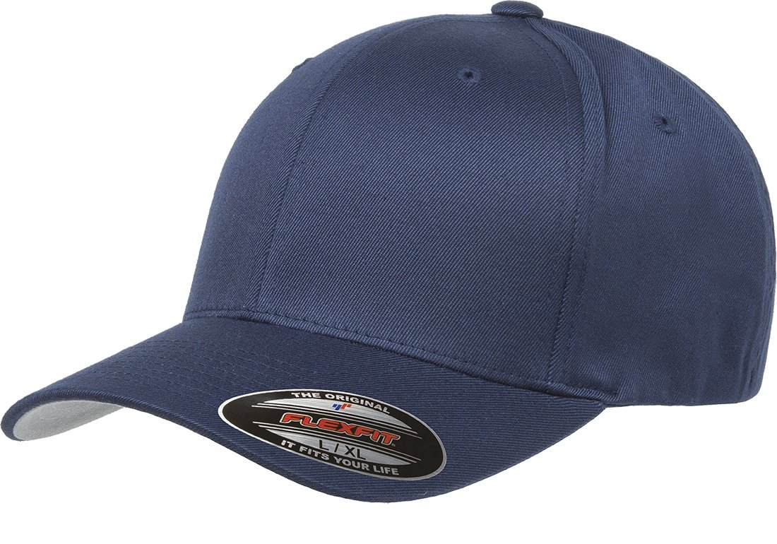 6277 Flexfit Wooly Combed Twill Cap,Navy,Adult XXL (7 3/8''- 8'')