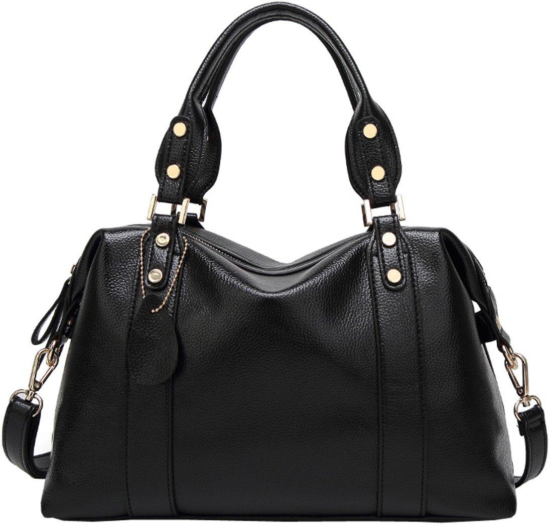 Kenoor PU Leather Tote Handbag Shoulder Bag Top Handle Bags Satchel for Women (Black)