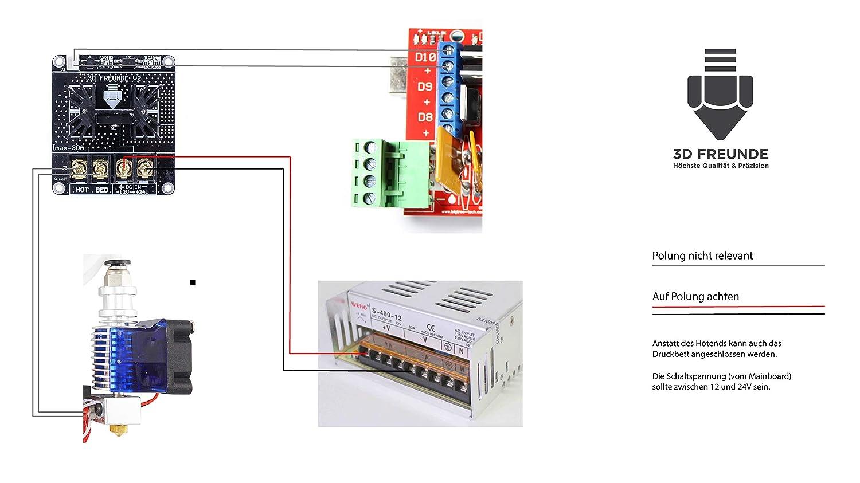 Transistor Mosfet (Mos) de 3D FREUNDE, para aliviar la placa base y asegurar el funcionamiento de la cama caliente o extrusores y la Ramps (para ...