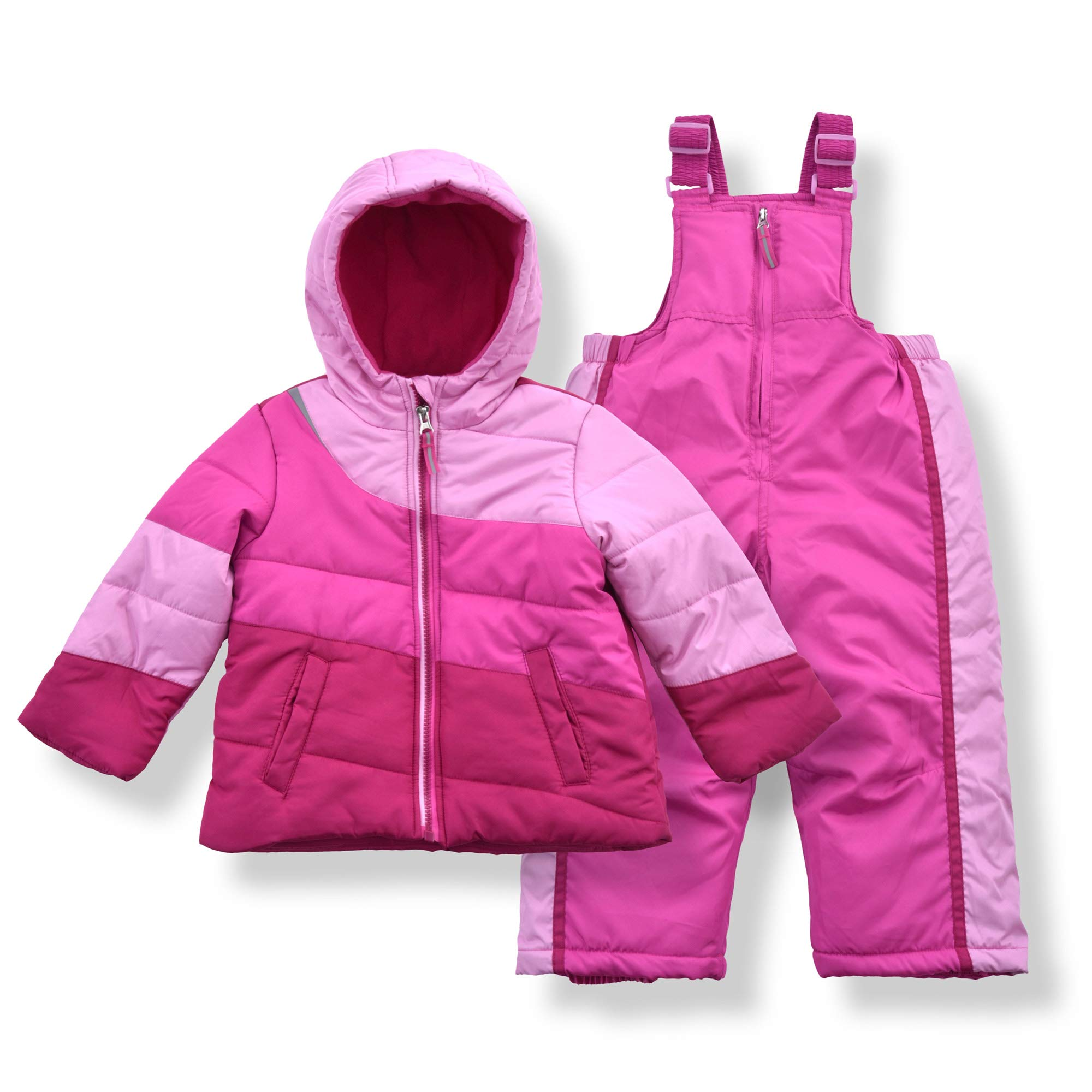 Arctic Quest Infant & Toddler Girls Color Block Puffer Jacket with Fleece Lining and Snow Bib Pants Set, Rose & Pink, 6X by Arctic Quest