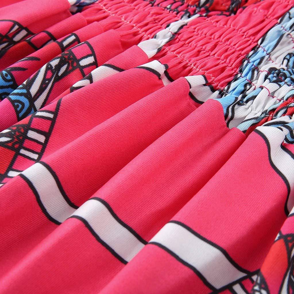 Womens Boho Sleeveless V Neck Floral Dress,Sunnoot Casual Sunflower Printing High Waist Skater Smock Mini Dresses