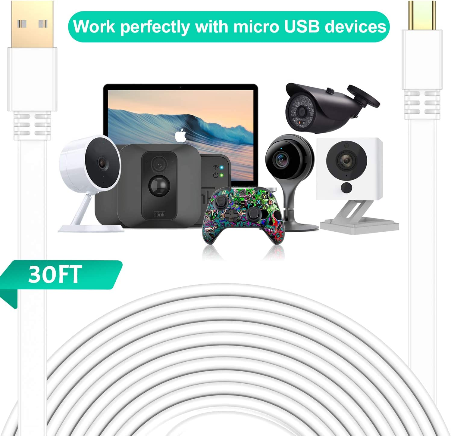 30FT//9M, Black ,Flat Micro USB Charging Cord,Charger for Wyze Cam Pan,Yi Cam,Nest Cam,Blink XT Camera,Furbo Dog,Arlo Q,Netvue,Xbox One Controller 2 Pack Elebase Micro USB Power Cable 30 Feet