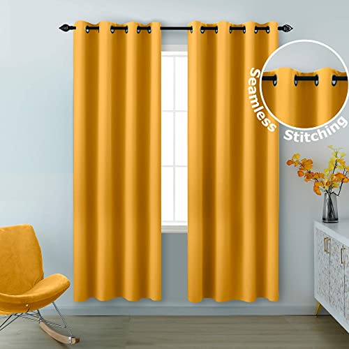 KOUFALL Yellow Curtains 84 Inch Length 2 Panels Grommet Light Blocking Insulated Thermal Room Darkening Blackout Curtains for Living Room Bedroom 52 x 84 Inches Long