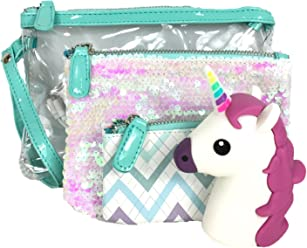 Under One Sky Trio Wristlet w Cosmetic Cases & Unicorn Portable Charger, Sequin Multi
