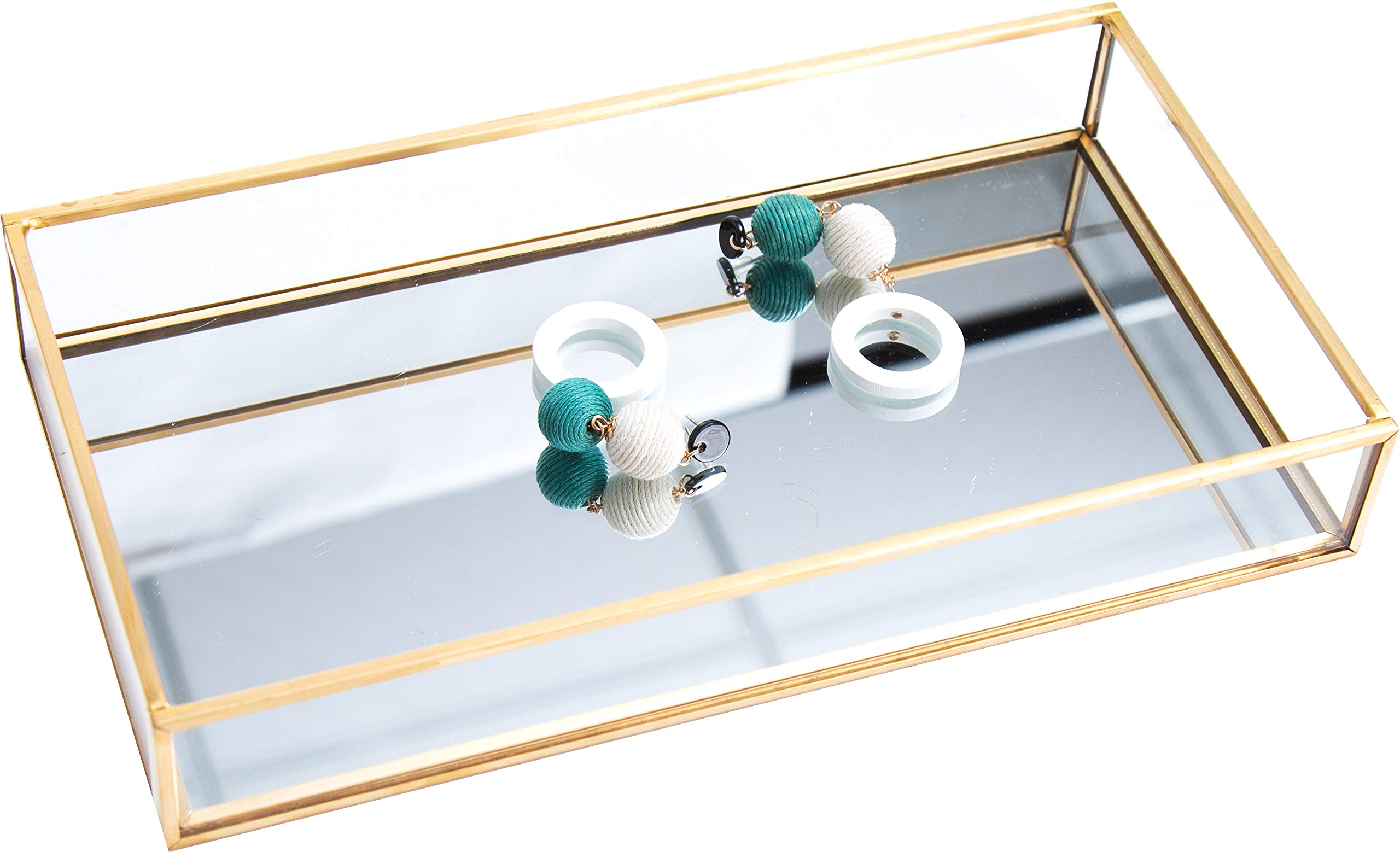 Cq acrylic Decorative Tray,Gold Mirror Tray for Jewelry,jewelry tray storage Organizer Makeup Tray for Vanity, Dresser, Pack of 1