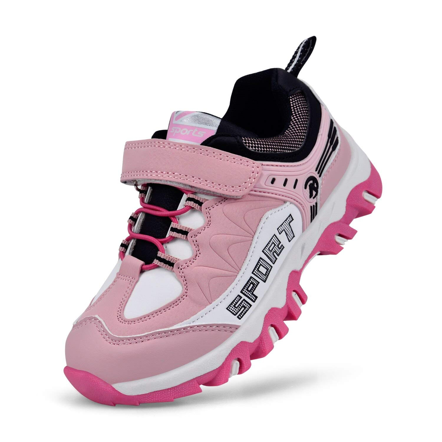 MARSVOVO Kids Sneakers Waterproof Outdoor Non-Slip Hiking Shoes Pink/White 1 Little Kid