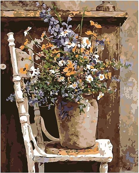 Zxjyh Peint à La Main Pur Abstrait Motif Fleurs Peinture à L