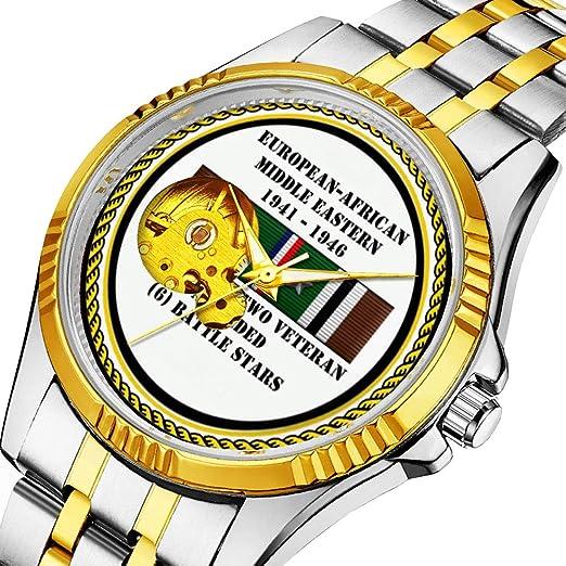 Reloj mecánico clásico para Hombre, Reloj mecánico Atemporal (Dorado) 027,6 Battle Stars de la Segunda Guerra Mundial Veterano: Amazon.es: Relojes