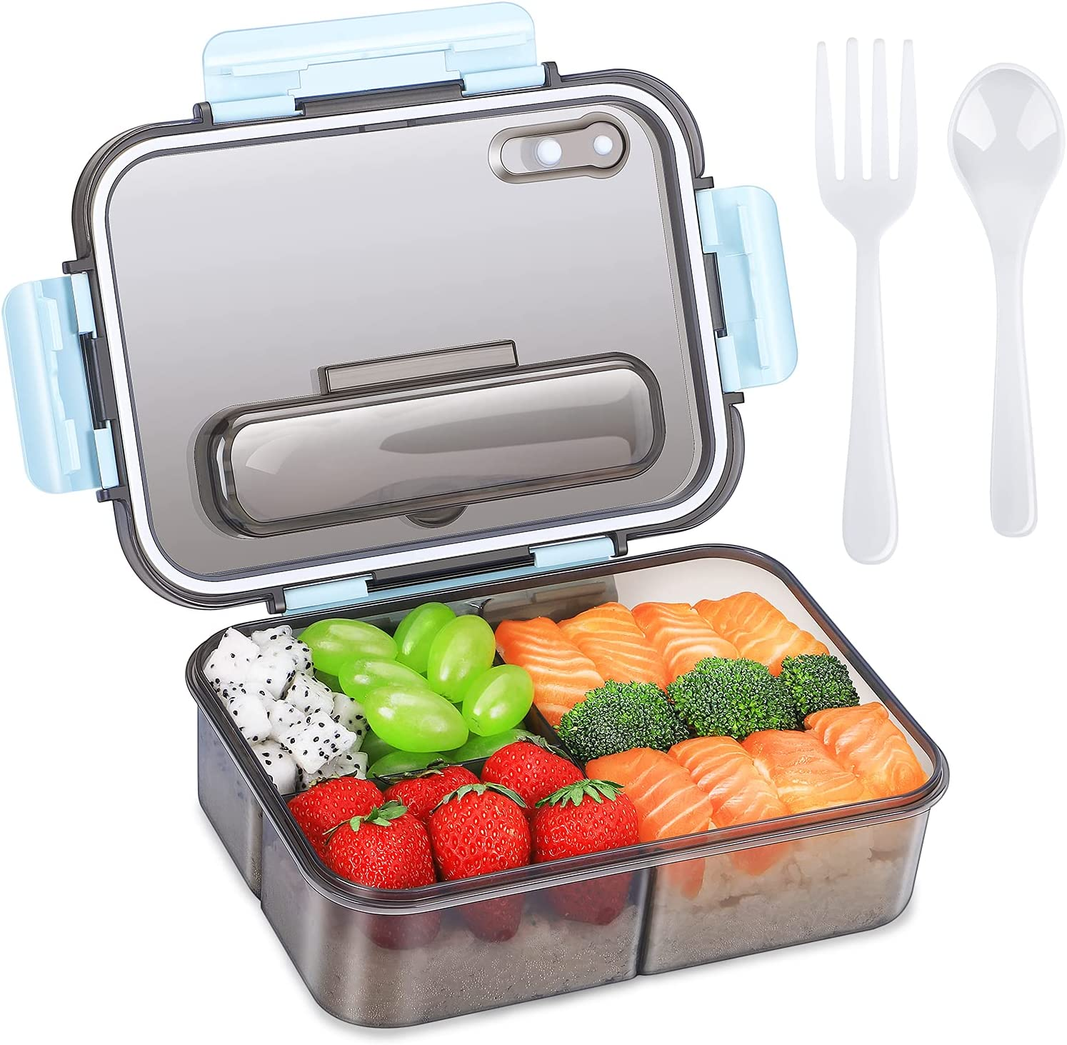 Bento Box Adults Lunch Box and Children ,Food Storage Box and Takeaway Plastic Lunch Box,Versatile 3 Compartment Bento-Style- 1500ML -Food Container- with Tableware - Durable and Leak-Proof(Blue)