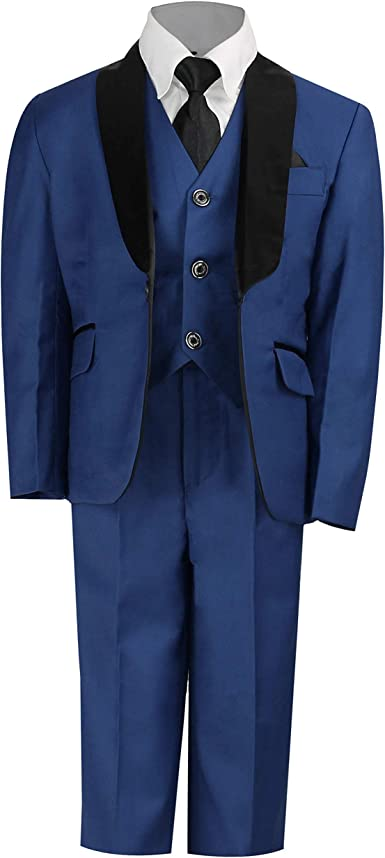 Boys Suits Electric Blue 5 Piece Wedding Suit Prom Page Formal Party 2-12 Years