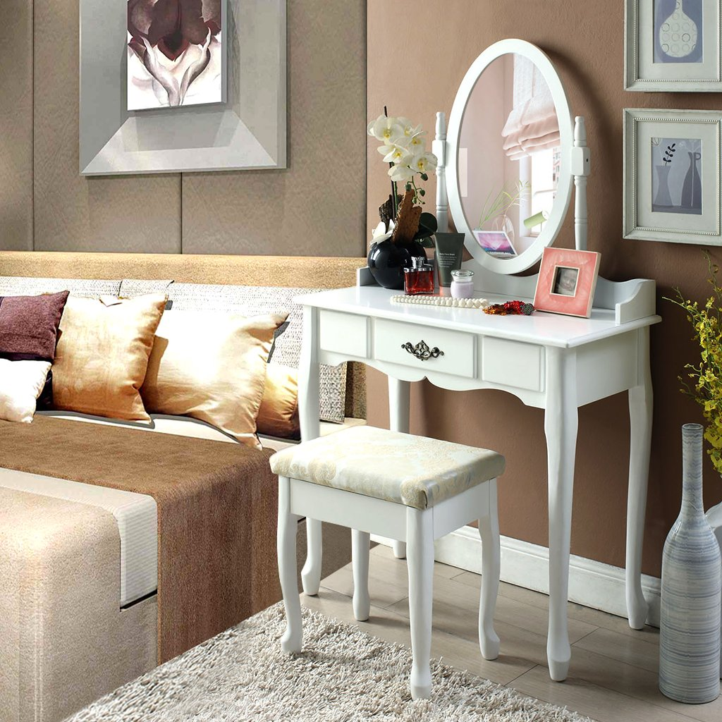 Makeup Table Langria Vanity Makeup And Dressing Table With Adjustable Oval