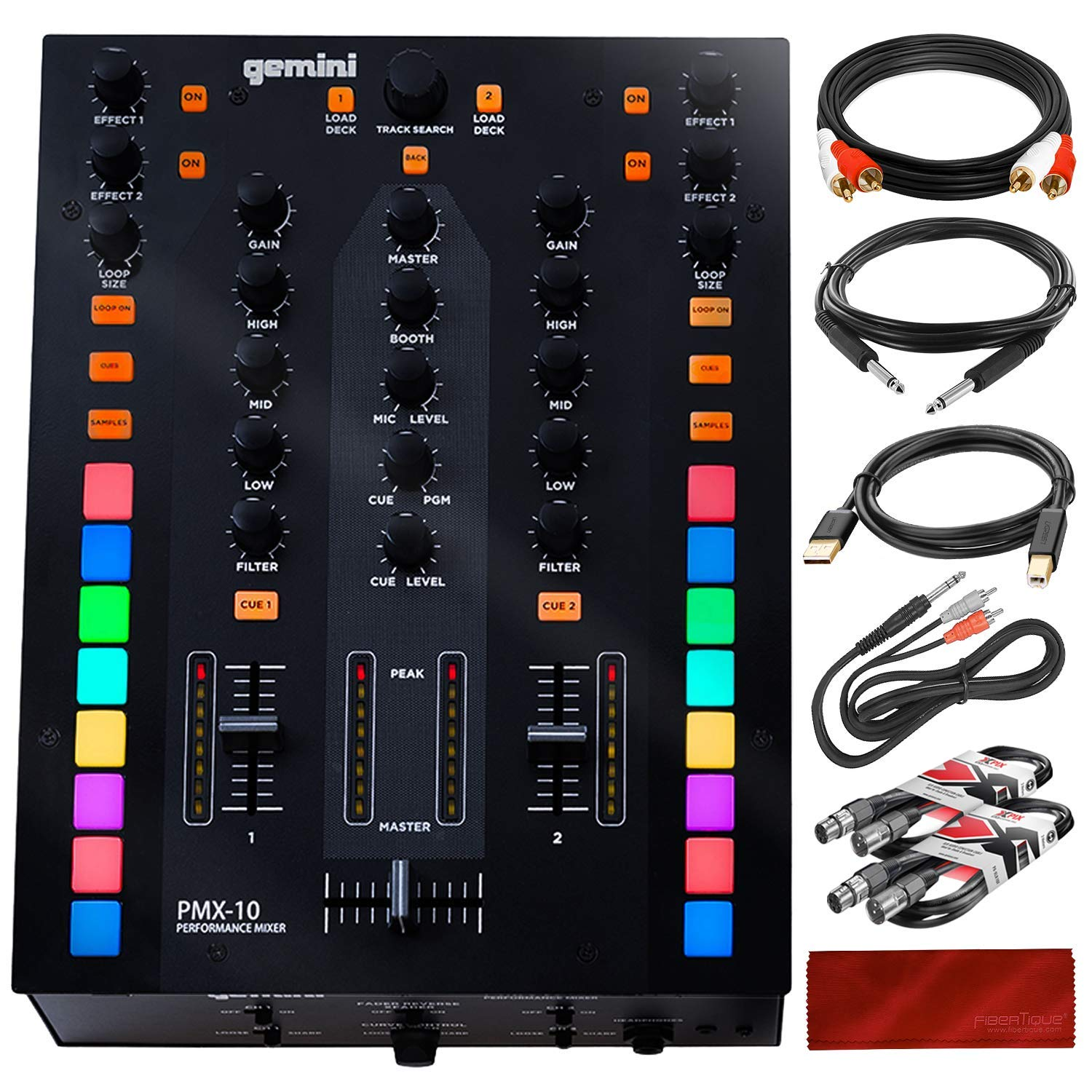Gemini PMX-10 A- A-B Box/DJ Mixer with Assorted Cables Bundle by Gemini - PS