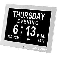 Digital Calendar Day Clock- Dementia, Alzheimer, Memory Loss, Impaired Vision, Alarm Clock with Backup Battery & 8 Alarms for Seniors/Elderly (Silver)