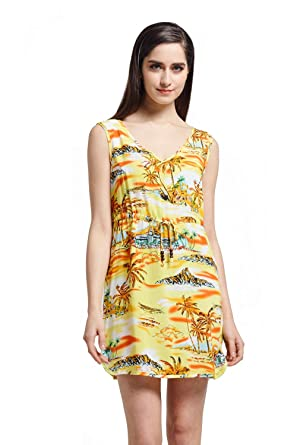 28665da9c829 Hawaii Hangover Tunic Slip On Luau Dress with Tie in Sunset Yellow at  Amazon Women's Clothing store: