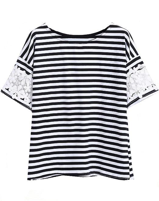 Sheinside - Camiseta - para mujer schwarz und weiß