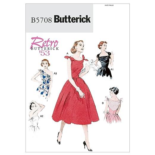 1950s Sewing Patterns- Dresses, Skirts, Tops, Pants 1953 Butterick Patterns B5708 Misses Dress Size E5 (14-16-18-20-22) $7.96 AT vintagedancer.com