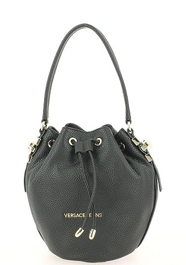 116601034ab5 Versace Jeans Katie Black Pebbled Bucket Bag Black Leather  Amazon ...