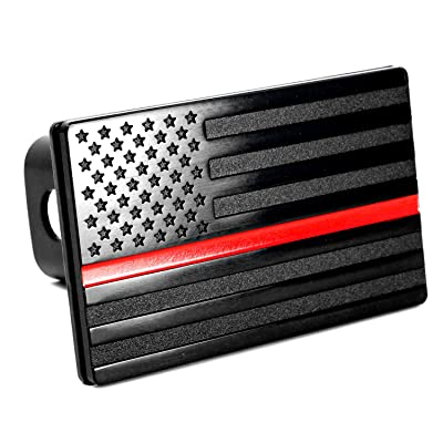 "USA American Flag Metal Trailer Hitch Cover (Fits 2"" Receivers, Black with Red line): Automotive"