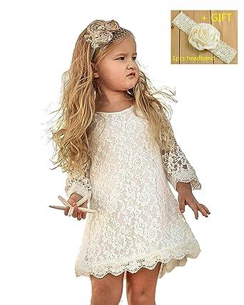 5bd4d7d65 Qzrnly Girl Lace Dress Kids Ruffles Flower Party Wedding Bridesmaid Dresses  Beige